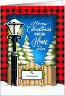 Snowy Lamplight Christmas Home Custom card