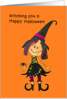 For children on Halloween - Witch painting card