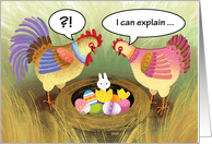 Easter Bunny Humor Rooster Hen Chicken Eggs card