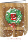 Wreath Rustic Door Snow Christmas Name Specific E card