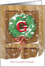 Wreath Rustic Door Snow Christmas Name Specific G card