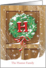 Wreath Rustic Door Snow Christmas Name Specific H card