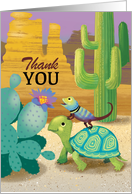 Thank You with a Cute Lizard Sitting on a Turtle Amongst Desert Cactus card