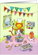 Chef Cat Cooking up Birthday Goodies card