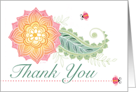 Lady Bugs Yellow Peach Flower Thank You card