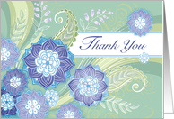 Blue Purple Flowers Thank You Green Leaf Paisley card