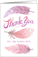 Pink Feathers Thank You Baby Shower card