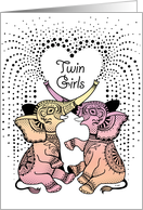 Twin Baby Girls Announcement 2 Cute Decorative pink Elephants card