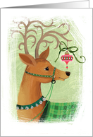 Cute Whimsical Reindeer with Ornament Christmas card