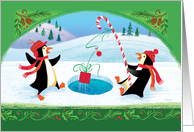 Cute Fishing Penquins Catching a Christmas Present card