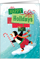 Surfing Penguin Happy Holidays Presents card