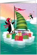 Cute Sailing Penguin Christmas Delivering Presents on an Ice Burg card