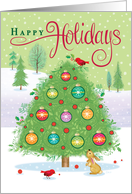 Colorful Christmas Tree Cardinals Happy Holidays card