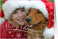 Custom Dog Theme Verse Photo Merry Christmas Snowflakes card