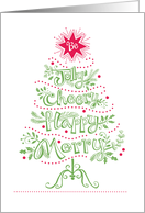 Jolly Cheery Merry Happy Christmas Tree Red Green card