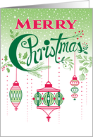 Red Green Pink Merry Christmas Ornaments card