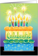Celebrate Birthday Cake with Candles and Sparklers card