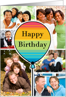 Colorful Happy Birthday Balloon Day Custom Photo Collage From All card