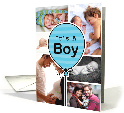 Boy Blue Striped Balloon Baby Announcement Custom Photo Collage card