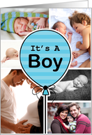 Blue Striped Balloon Baby Boy Announcement Custom Photo Collage card