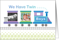 Twin Boys Birth Announcement BlueTrain Custom Photo card