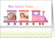 Twin Girls Birth Announcement Pink Train Custom Photo card