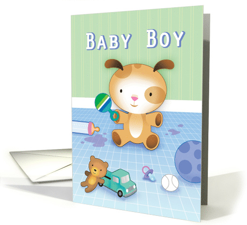 New Baby Boy Congratulations Puppy Mess card (1511946)