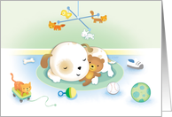 New Puppy Congratulations Cute Dog Sleeping with Teddy Bear card