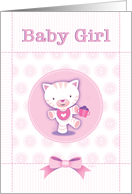 Cute Pink Kitten New Baby Girl Congratulations card