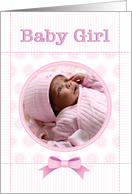 Baby Girl Birth Announcment Pink Baby Quilt Custom Photo card