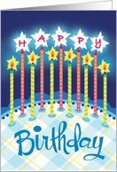 Blue Plaid Happy Birthday Cake Candles card
