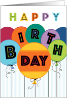 Happy Birthday Typography Bright Colored Balloons card