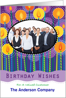 Business Happy Birthday Candles Custom Photo Customer card