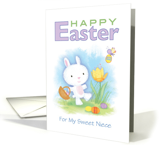 Happy Easter Cute Bunny Basket Eggs Vignette card (1515916)