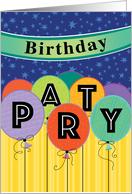 Invitation Birthday Party Colorful Floating Balloons Banners Stars card