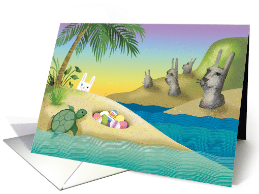 Happy Easter Island Bunny Turtle Eggs card (1519560)
