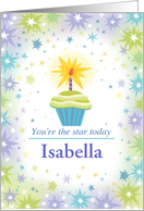 Happy Birthday Cup Cake Star Custom Name I card