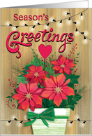 Rustic Season's Greetings Poinsettias Christmas Lights Business card