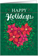 Happy Holidays Poinsettia Heart Christmas Business card