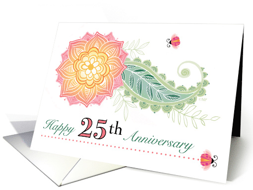 25th Anniversary Flower Paisley Lady Bugs Twenty Fifth card (1569654)