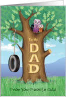 Father's Day Owls Oak Tree Hanging Tire Swing From Your Favorite Child card