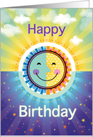 Happy Birthday Sun Stars Day and Night card