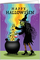 Halloween Witch Brewing Cauldron Spiders Eyeballs Candy card