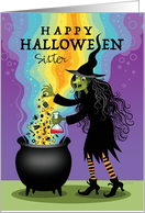 Sister Halloween Custom Witch Brewing Cauldron Spiders Eyeballs Candy card