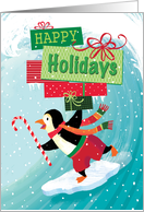 Surfing Penguin Happy Holidays Present card