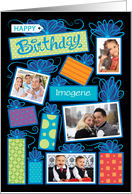 Happy Birthday Presents Custom Photo Initial Letter I card