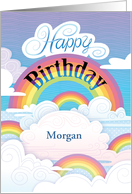 Rainbows Clouds Happy Birthday Customize Name P card
