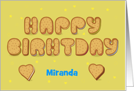 Happy Birthday. Sweet Cookies Font. Custom Front Name card