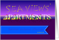 Sea Views Apartments. Business card. Summer offerings. Custom text card