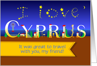 Thank you Card. I Love Cyprus. Coastal Night. Custom text front card